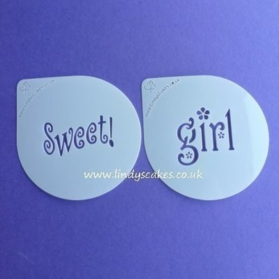 Sweet and Girl Words Cupcake Stencil Set - Lindy's (LC206)