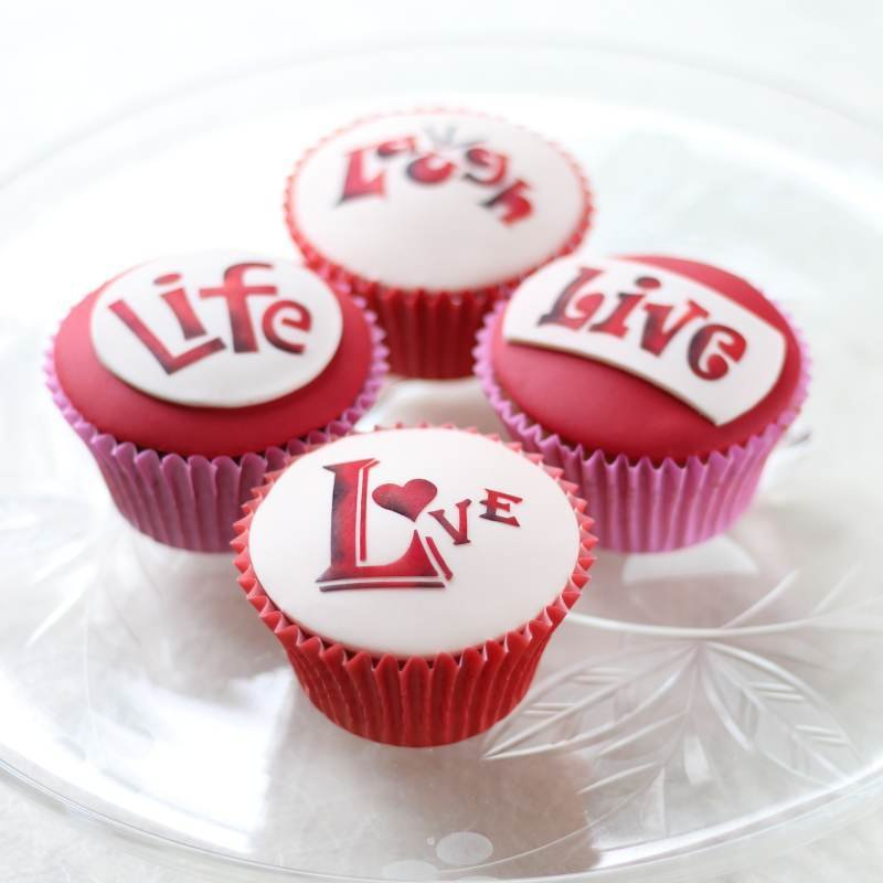 Live, Love, Laugh & Life Words Cupcake Stencil Set - Lindy's (LC208)