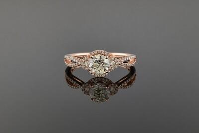 Rose Gold Split Shank Diamond Engagement Ring