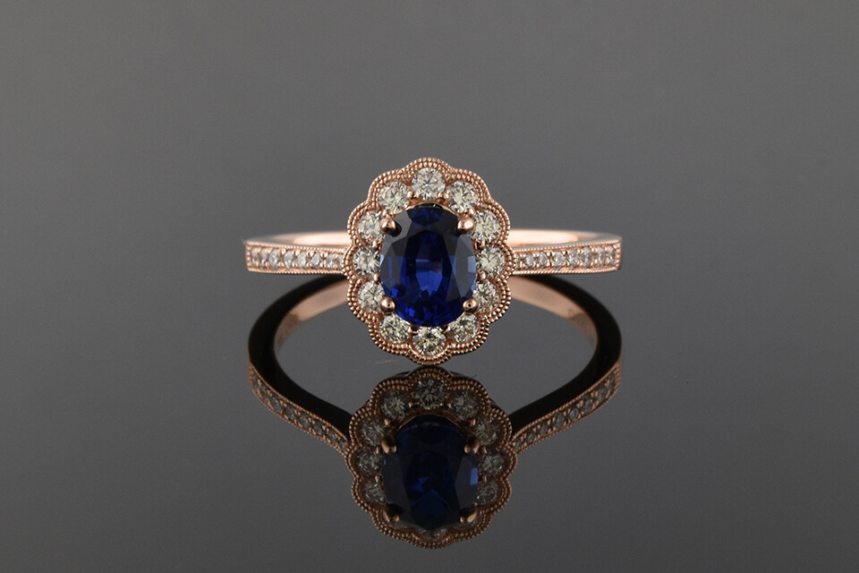 Rose Gold Sapphire Ring With Halo