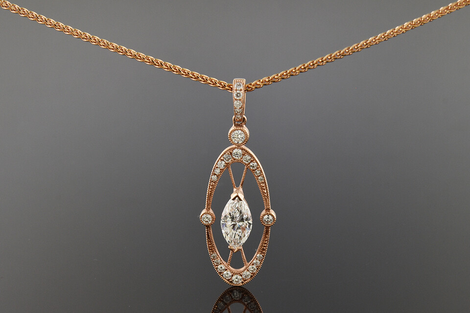 Rose Gold Marquise Diamond Necklace/Pendant