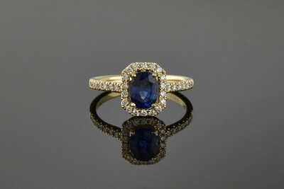 Yellow Gold Sapphire Ring With Halo