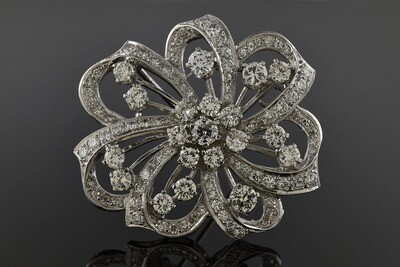 Diamond Ribbon Brooch
