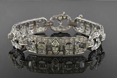 Platinum and Diamond Bracelet with Marquise Diamonds