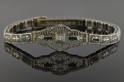 Art Deco Filigree Bracelet With Green Trim