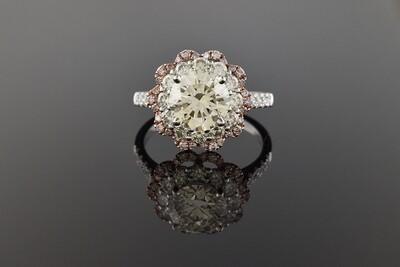 Diamond Ring with Pink Diamond Halo