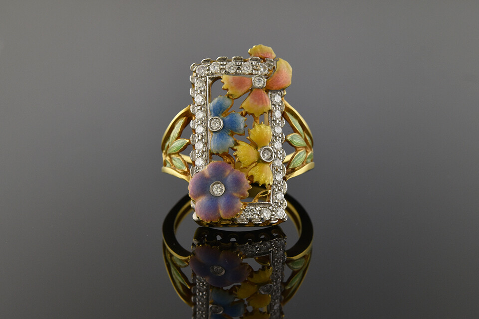 Masriera Floral Enamel & Diamond Ring