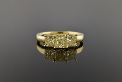 Fancy Yellow Diamond 3 Stone Ring