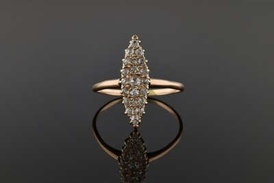 Navette Ring With Rose Cut Diamonds
