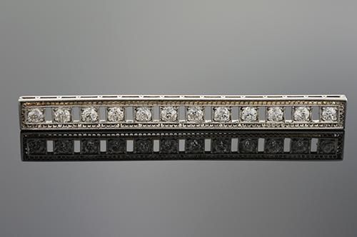 Item #1062 Art Deco Diamond Bar Brooch