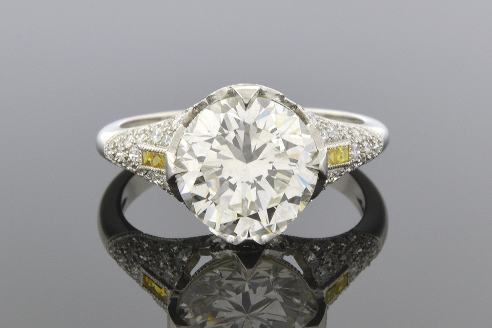 Engagement Ring with Yellow Diamond Trim