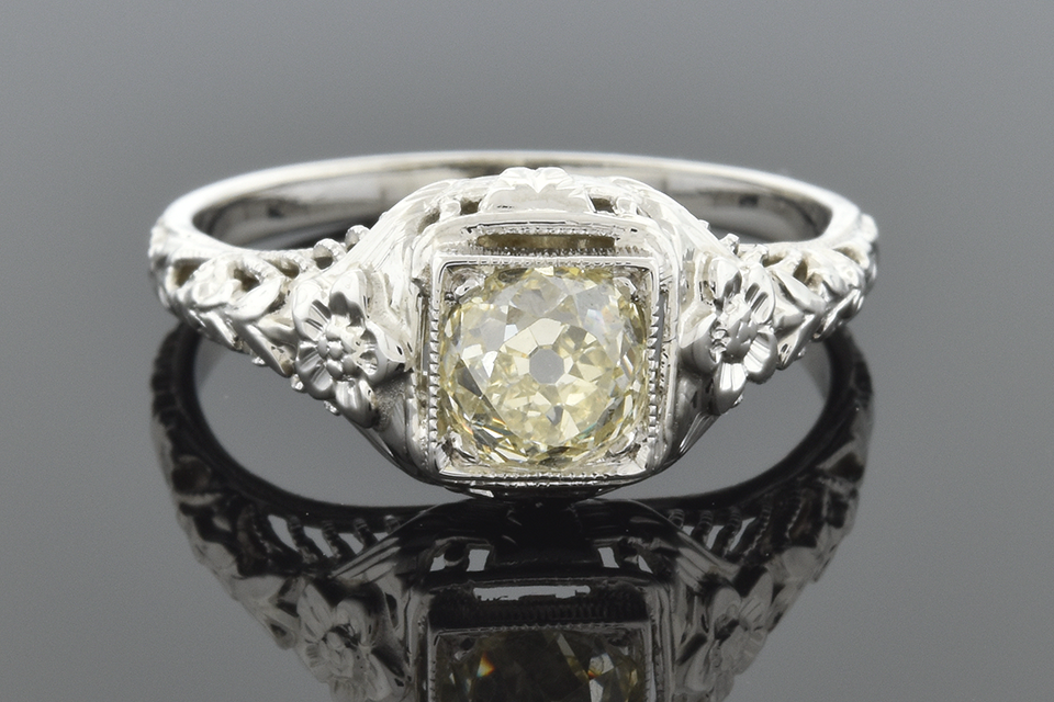 Art Deco Engagement Ring with Carved Flowers