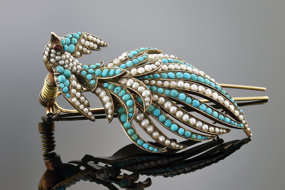 Turquoise and Seed Pearl Georgian Hairpin