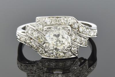 Symmetrically Asymmetrical Art Deco Diamond Ring