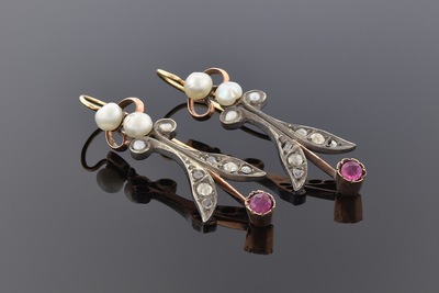 Georgian Ruby Diamond and Pearl Dangle Earrings