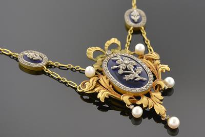 Art Nouveau Diamond and Cobalt Blue Glass Festoon Necklace