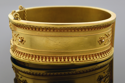 Wide Etruscan Bangle Bracelet