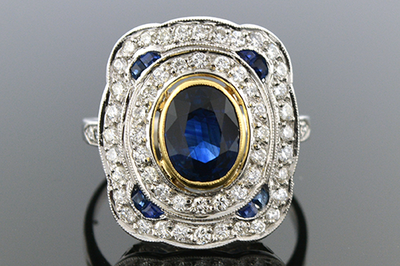Low Profile Sapphire and Diamond Ring