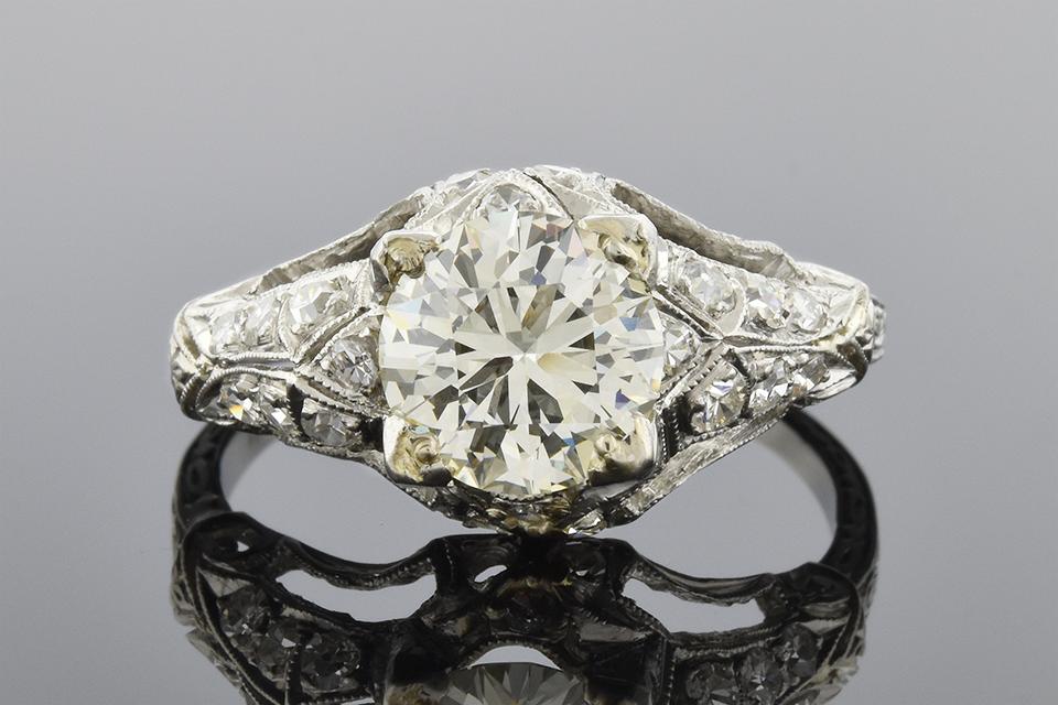 Detailed Art Deco Diamond Engagement Ring