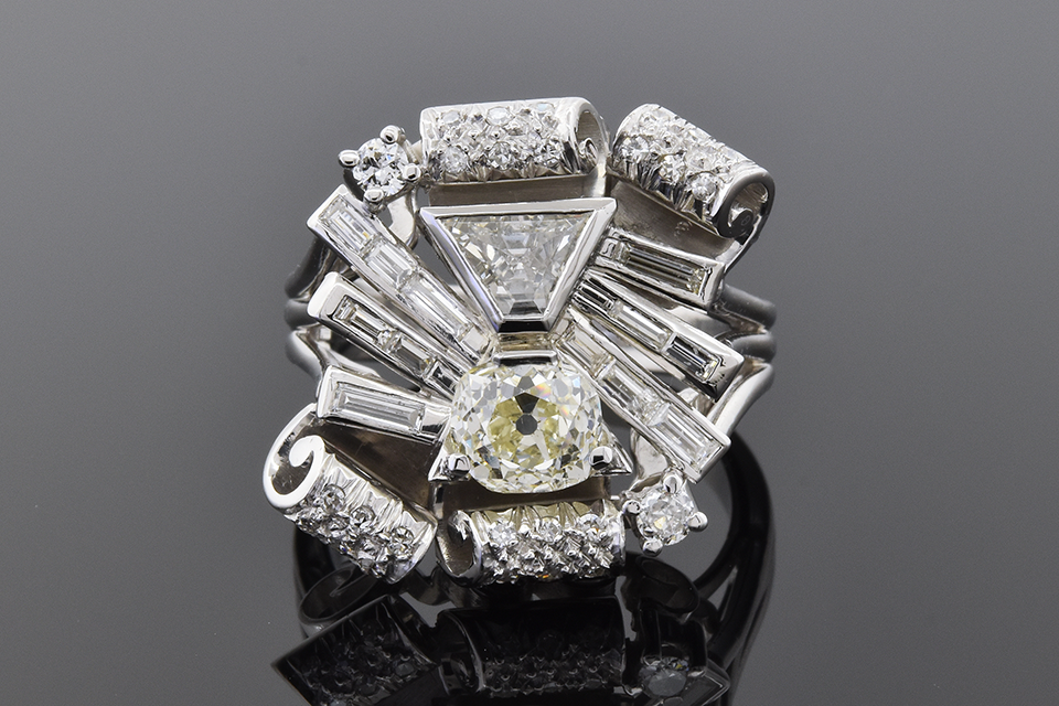 Vintage Free Form Diamond Statement Ring