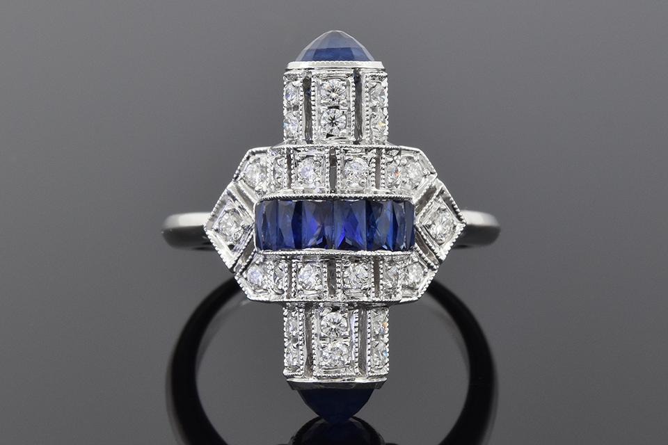 Art Deco Inspired Sapphire and Diamond Ring