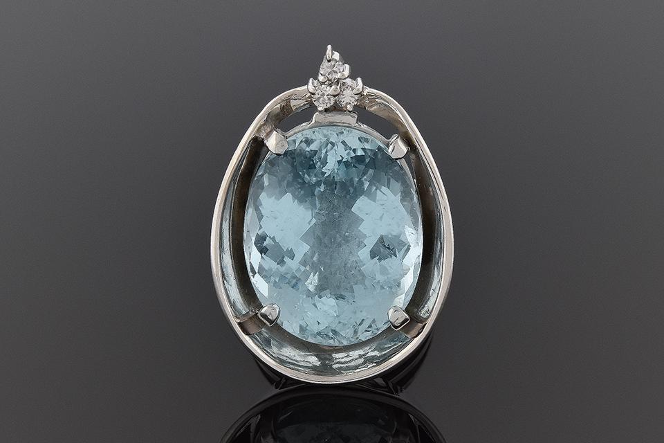 Handmade Aquamarine and Diamond Statement Ring