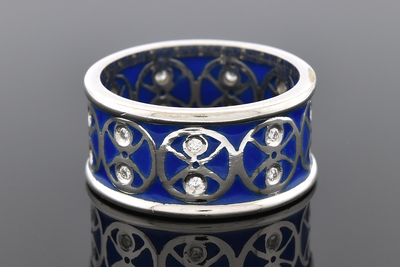 Plique-A-Jour Enamel and Diamond Band