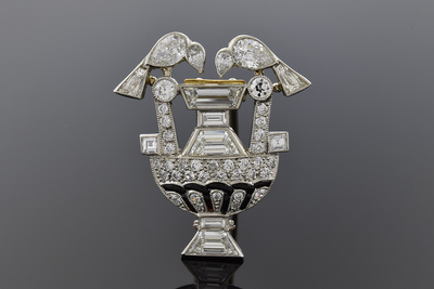 Art Deco Diamond Bird Fountain Brooch