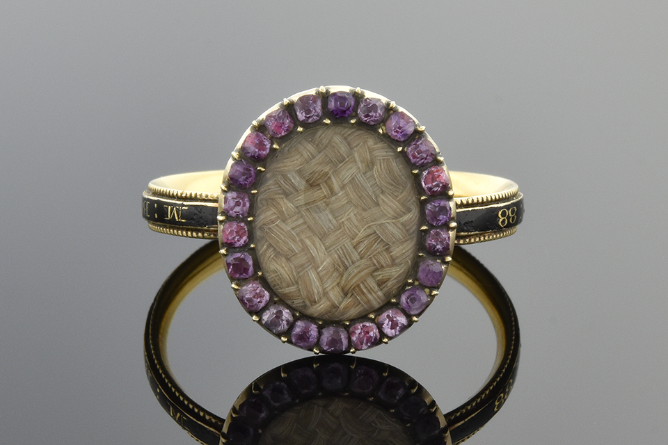 Hair Ring with Gemstone and Enamel