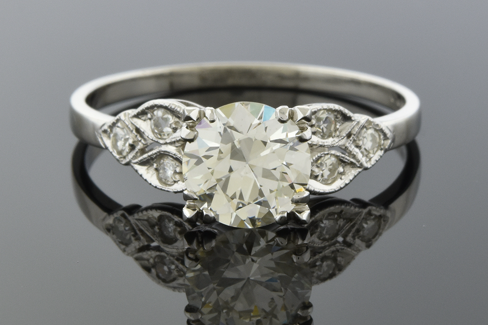 Vintage Side Design Engagement Ring