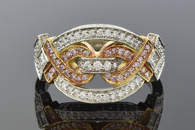 Right Hand Pink Diamond Ribbon Ring