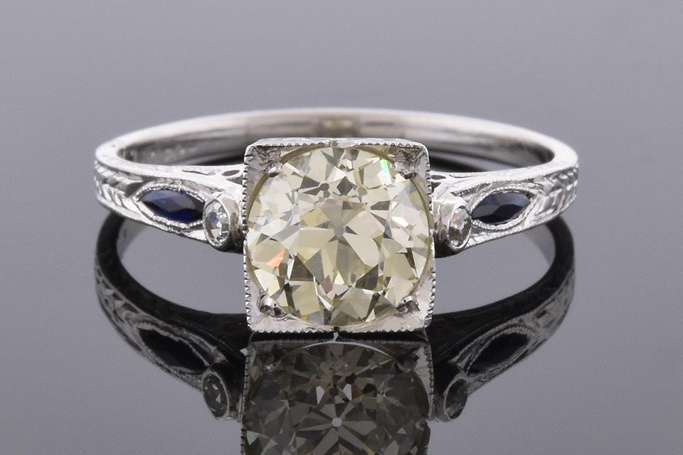 Art Deco Sapphire Trim Engagement Ring