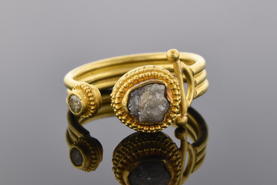 Rough Cut Diamond Ring in a Split Top Design by Luna Felix