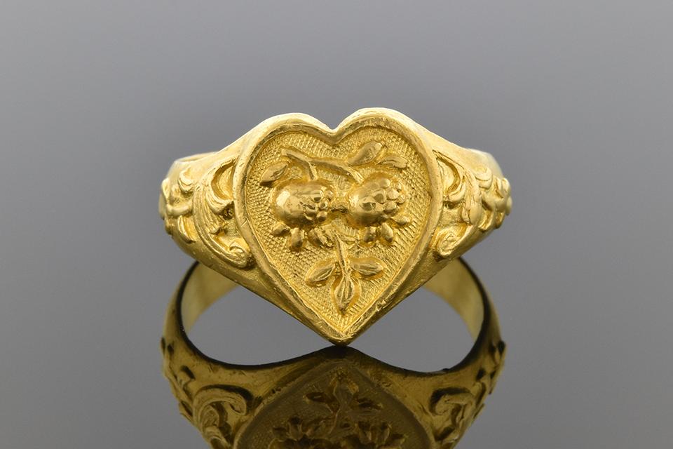Carved Design Heart Ring In 22 Karat Gold