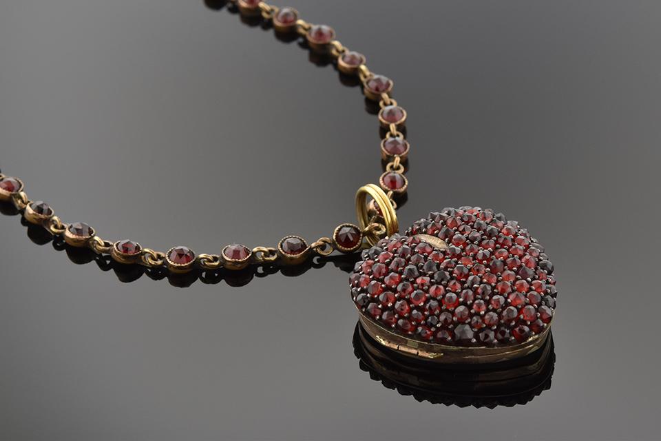 Georgian Garnet Heart Necklace