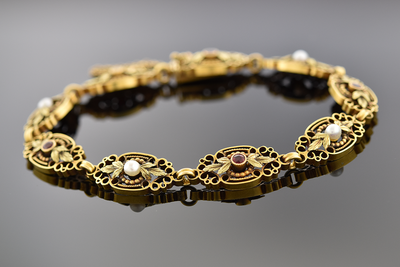 Late Victorian Ruby and Pearl Bracelet