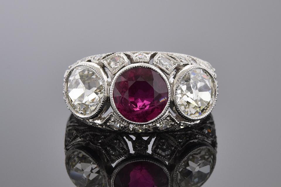 Ruby and Diamond Art Deco Three Stone Ring