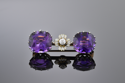 Amethyst and Diamond Bar Brooch with Enamel Flower