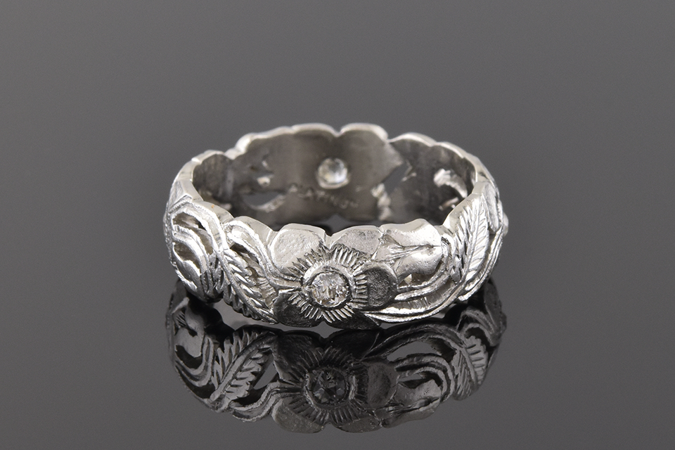 Carved Platinum Floral Diamond Band