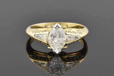 English Made Ring With A Marquise Diamond