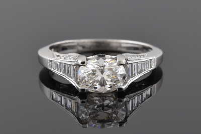 East West Set Oval Diamond in a Tacori Ring
