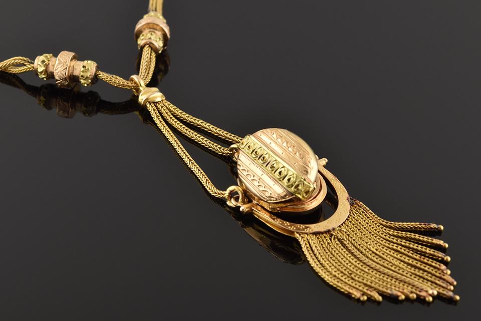 Antique Necklace with Decorative Tassel Locket