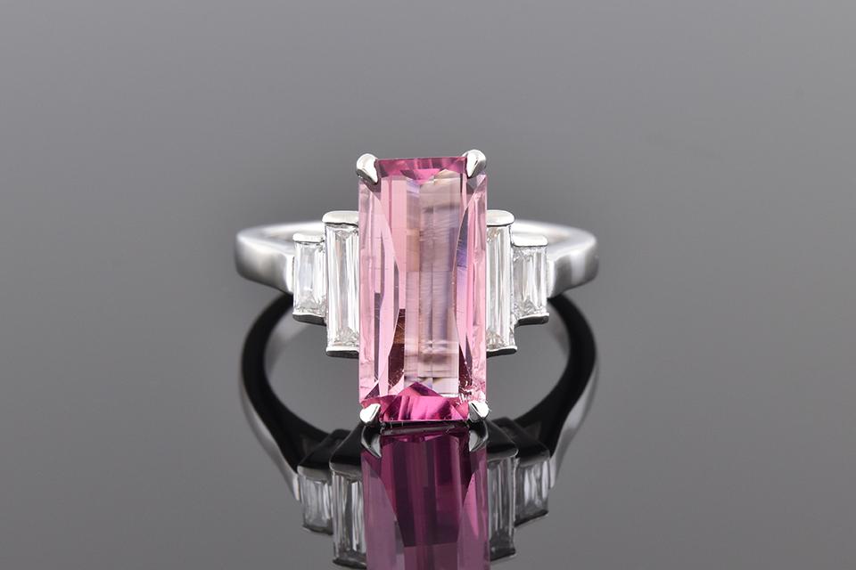 Elongated Pink Tourmaline with Criss Cut Diamond Accents