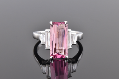 Elongated Pink Tourmaline with Criss Cut Diamond Accents