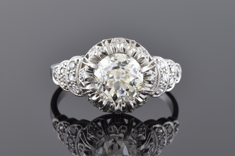 Art Deco Diamond Ring With Tulip Design Halo