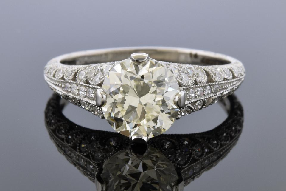 Diamond Detailed Open Design Engagement Ring