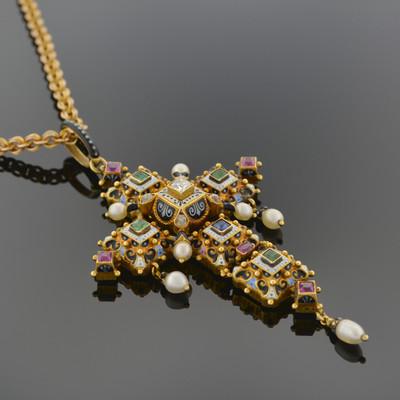 Renaissance-Revival Gold and Enamel Gem-set Cross Pendant