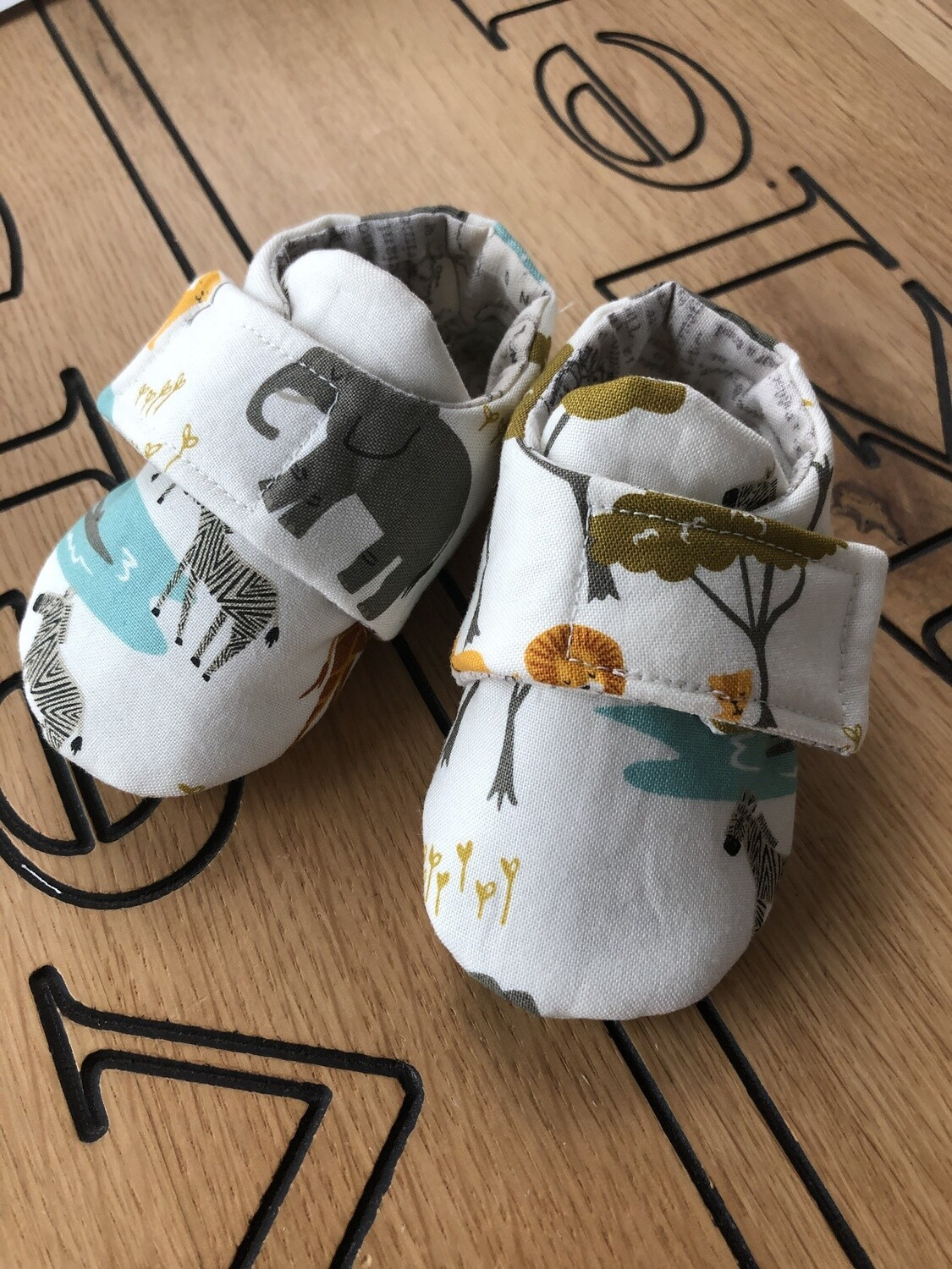 White Safari Baby Shoes, 0-3 months