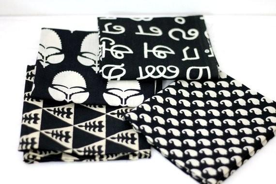 Black and white precut bundle of 4
