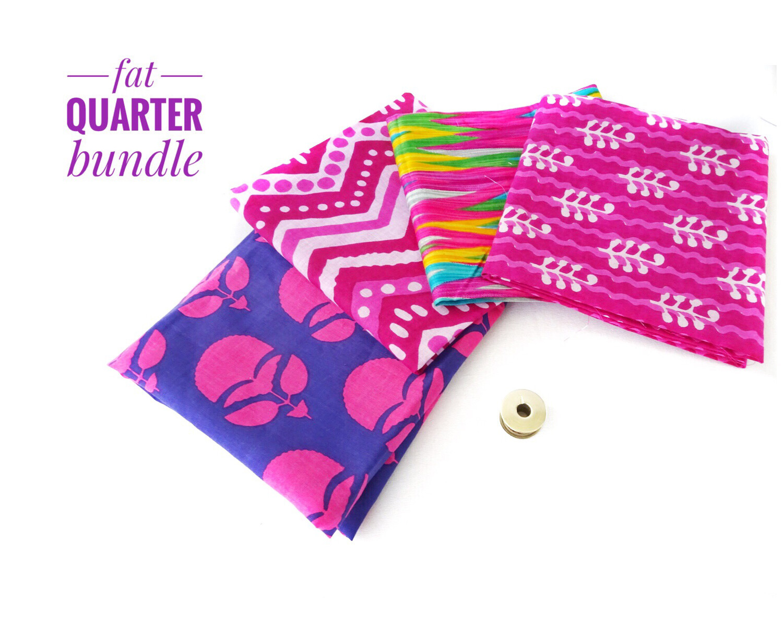 Pink Block Print Fat Quarter Bundle